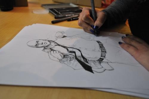 Darinka disegna Sauro (I frutti del buio)